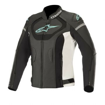 Alpinestars Stella Jaws v3 Ladies Leather Motorcycle Jacket Black White & Teal